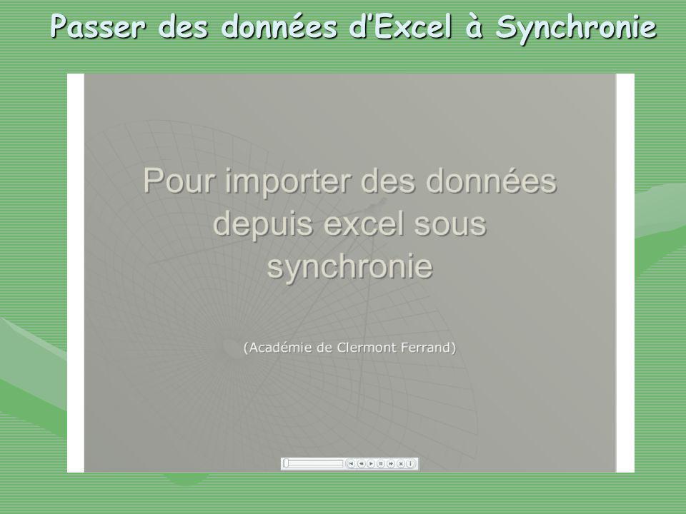 Passer des données dExcel à Synchronie