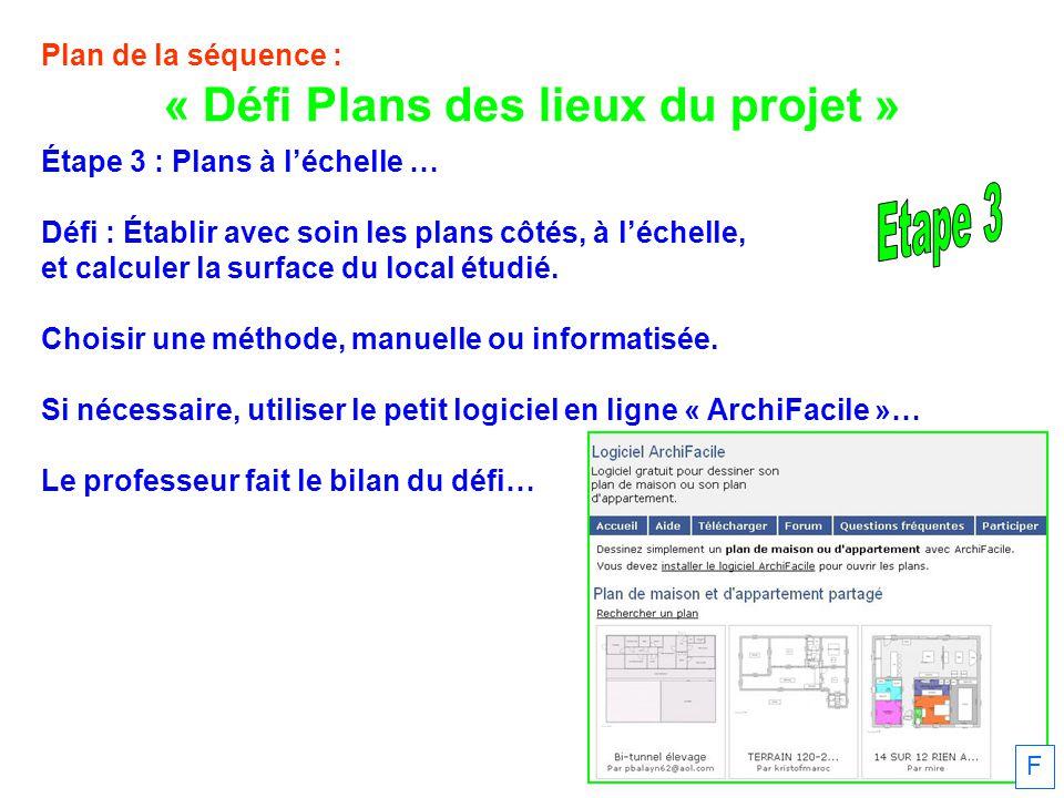 Plan de la séquence : Étape 3 : Plans à léchelle … Défi : Établir avec soin les plans côtés, à léchelle, et calculer la surface du local étudié.