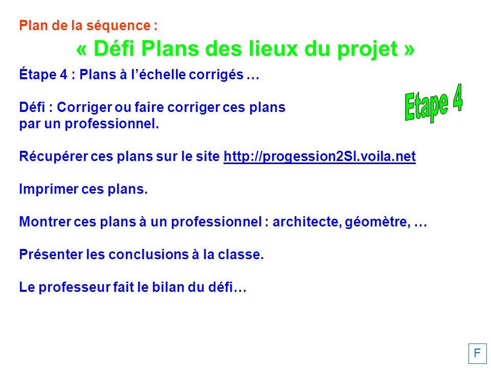 Plan de la séquence : Étape 4 : Plans à léchelle corrigés … Défi : Corriger ou faire corriger ces plans par un professionnel.