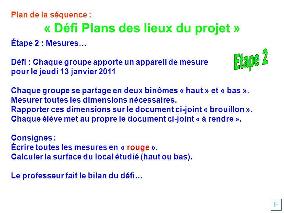 Plan de la séquence : Étape 2 : Mesures… Défi : Chaque groupe apporte un appareil de mesure pour le jeudi 13 janvier 2011 Chaque groupe se partage en deux binômes « haut » et « bas ».