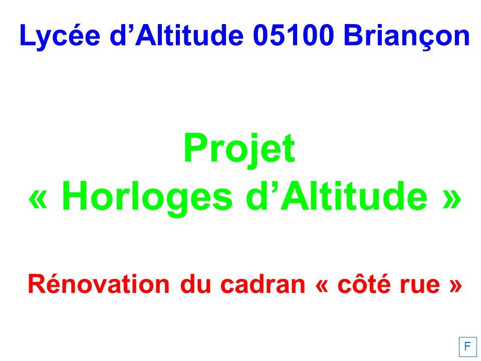F Lycée dAltitude 05100 Briançon Projet « Horloges dAltitude » Rénovation du cadran « côté rue »