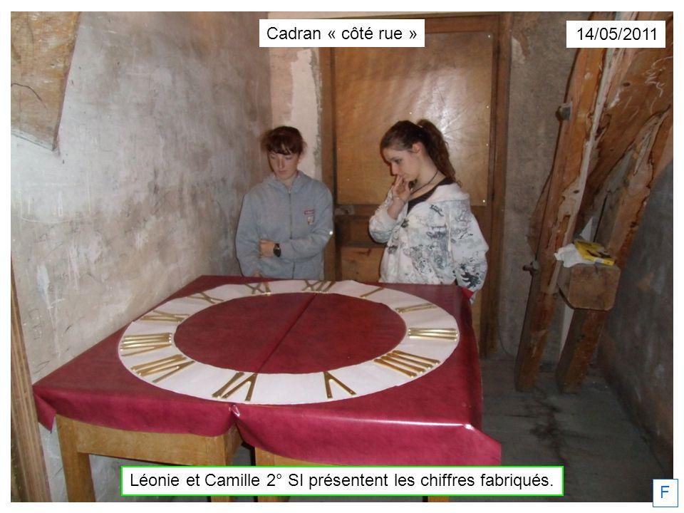 F 14/05/2011 Cadran « côté rue » Léonie et Camille 2° SI présentent les chiffres fabriqués.