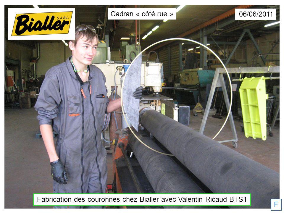 F 06/06/2011 Fabrication des couronnes chez Bialler avec Valentin Ricaud BTS1 Cadran « côté rue »