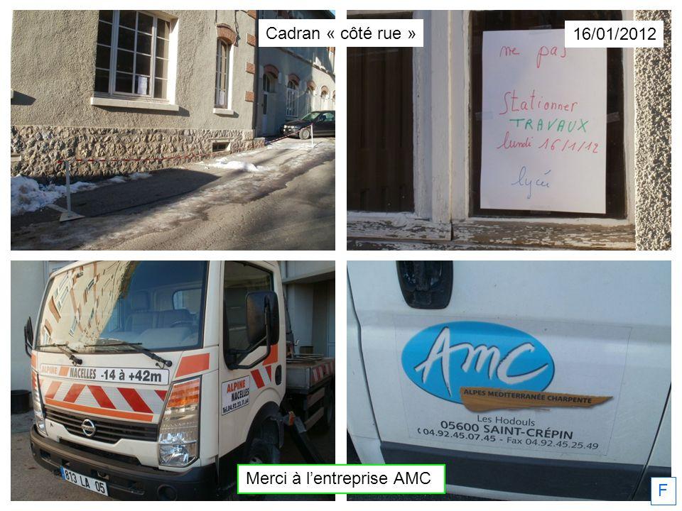 Merci à lentreprise AMC 16/01/2012 F Cadran « côté rue »
