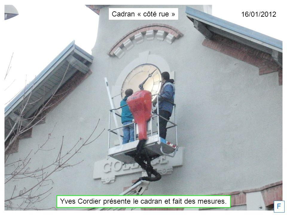 Yves Cordier présente le cadran et fait des mesures. 16/01/2012 F Cadran « côté rue »