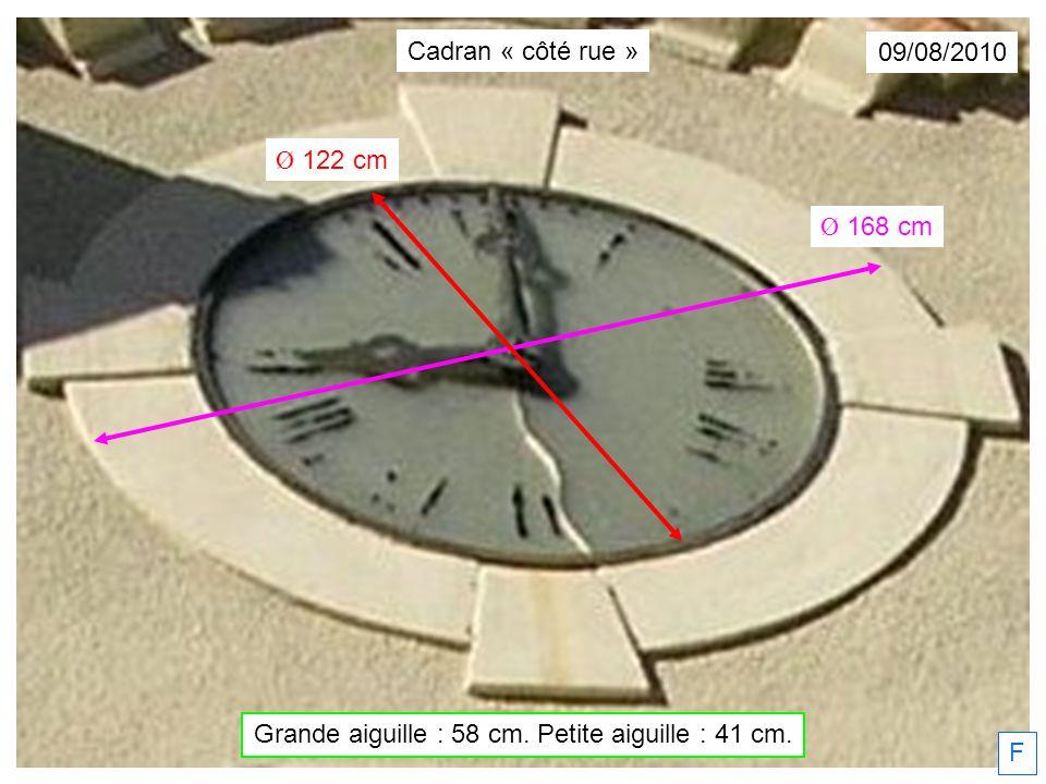 F 21/09/2009 État des lieux Cadran « côté rue »