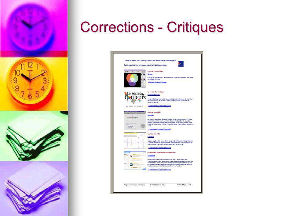 Corrections - Critiques