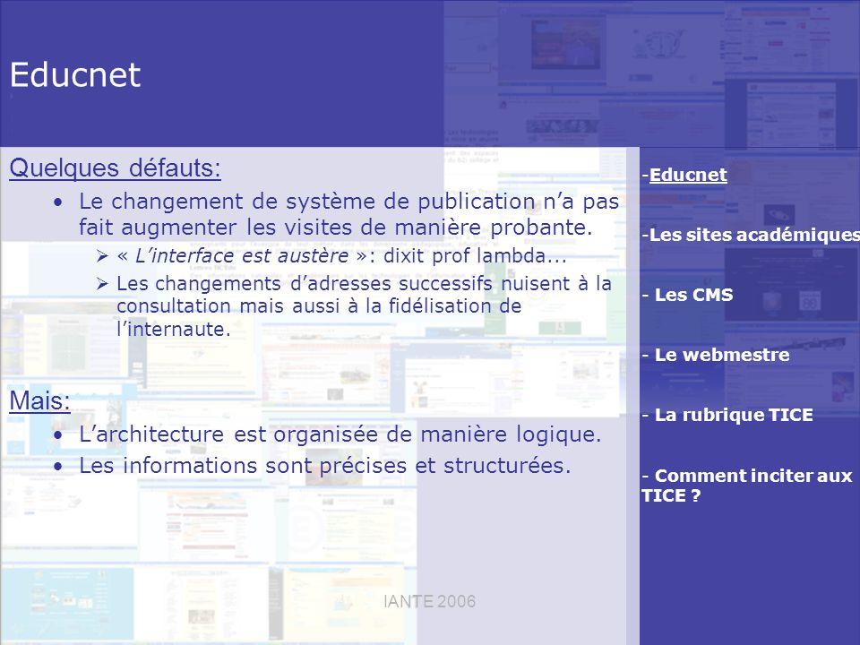 IANTE 2006 Educnet Quelques défauts: Le changement de système de publication na pas fait augmenter les visites de manière probante.