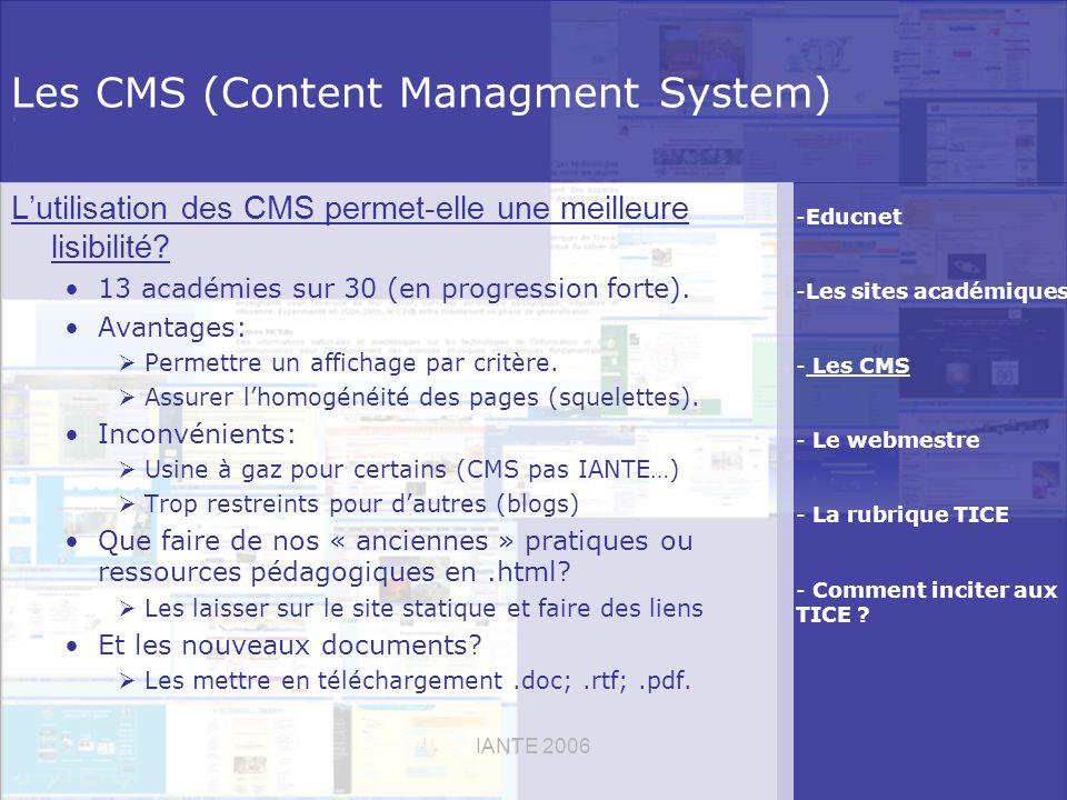 IANTE 2006 Les CMS (Content Managment System) Lutilisation des CMS permet-elle une meilleure lisibilité.