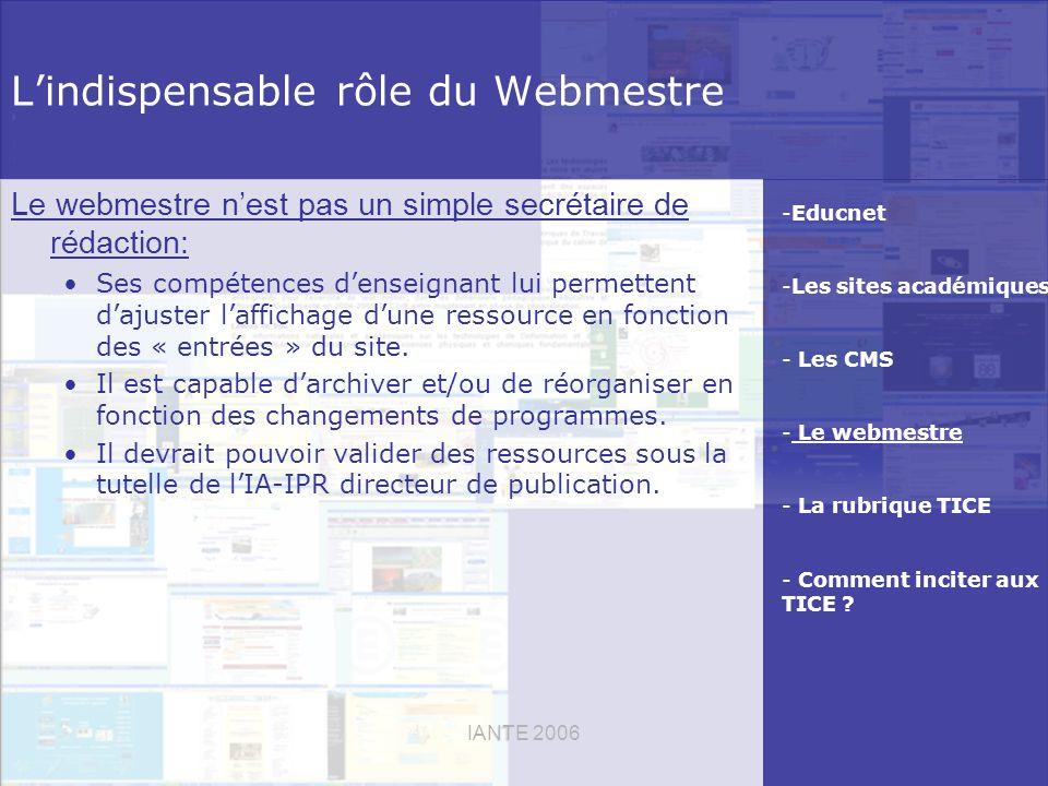 IANTE 2006 Lindispensable rôle du Webmestre Le webmestre nest pas un simple secrétaire de rédaction: Ses compétences denseignant lui permettent dajuster laffichage dune ressource en fonction des « entrées » du site.