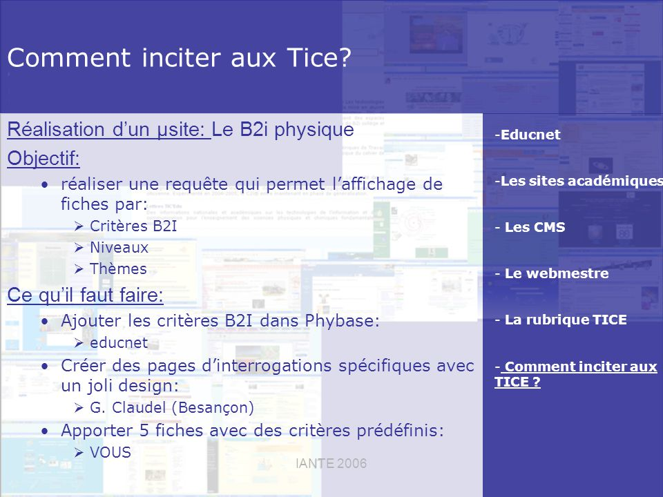 IANTE 2006 Comment inciter aux Tice.