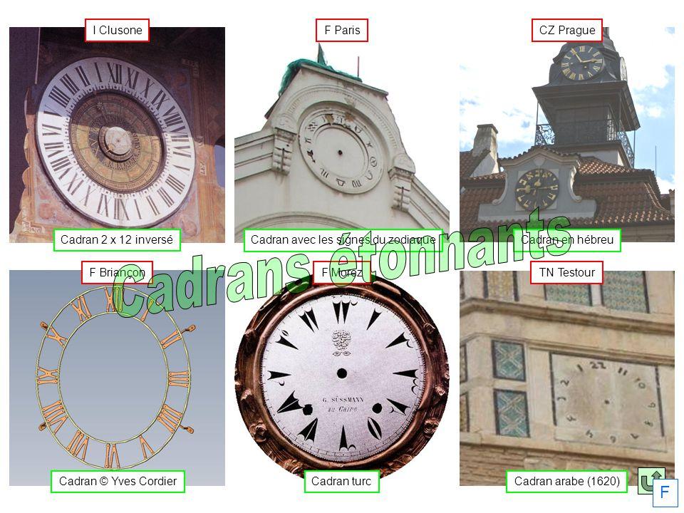 Cadran en hébreu CZ Prague Cadran avec les signes du zodiaque F Paris Cadran 2 x 12 inversé I Clusone Cadran arabe (1620) TN Testour Cadran turc F Mor