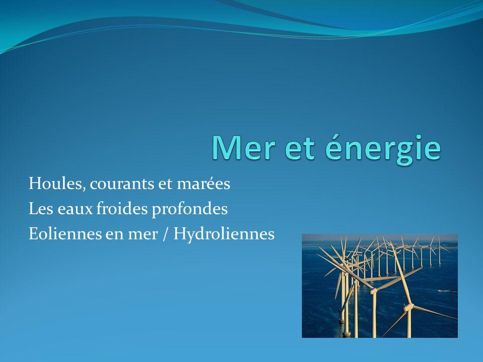 Houles, courants et marées Les eaux froides profondes Eoliennes en mer / Hydroliennes
