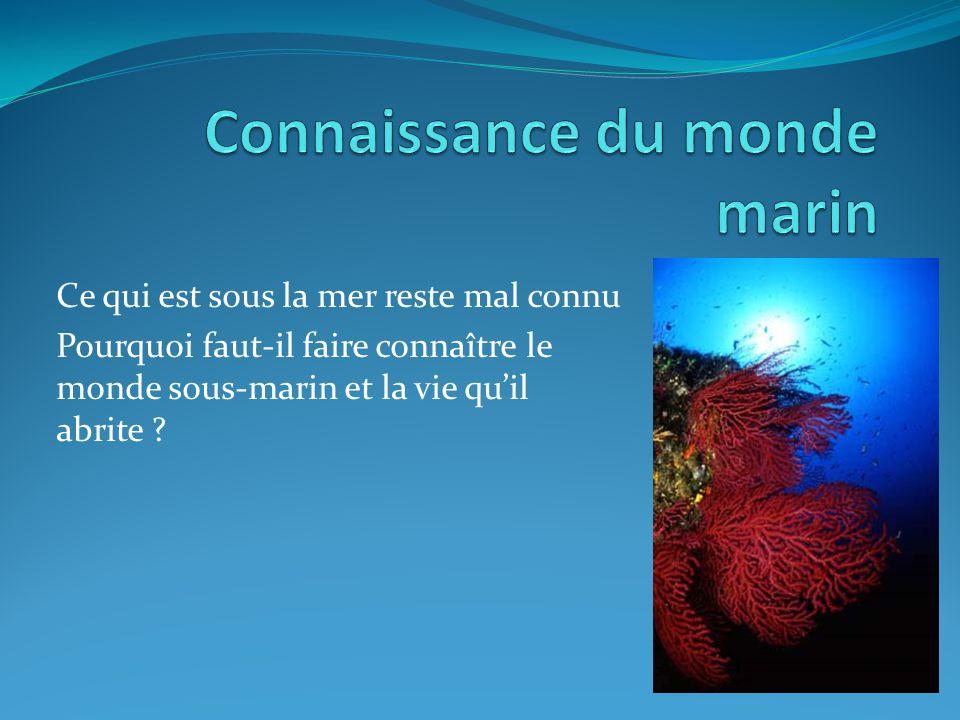 Ce qui est sous la mer reste mal connu Pourquoi faut-il faire connaître le monde sous-marin et la vie quil abrite ?