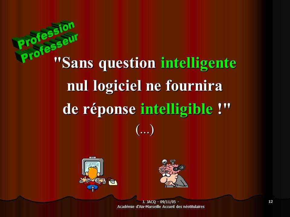 J. JACQ - 09/11/05 - Académie dAix-Marseille Accueil des néotitulaires 12