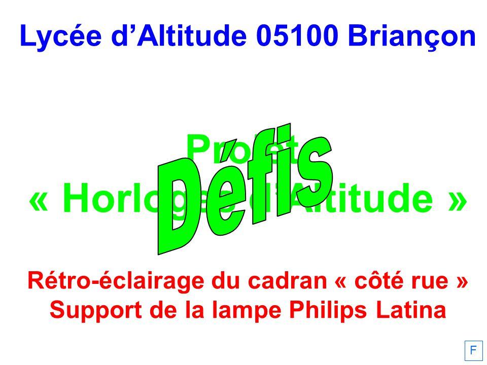 Lycée dAltitude 05100 Briançon Projet « Horloges dAltitude » Rétro-éclairage du cadran « côté rue » Support de la lampe Philips Latina F