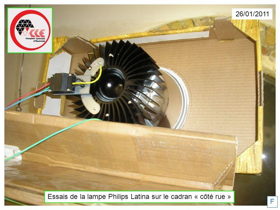 26/01/2011 Essais de la lampe Philips Latina sur le cadran « côté rue » F