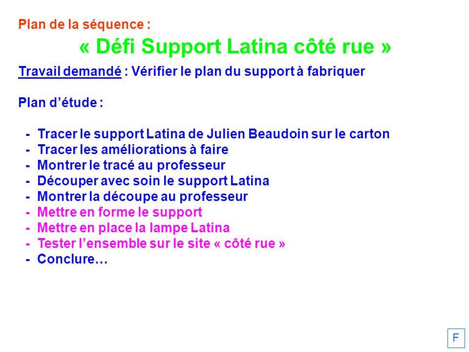 Plan de la séquence : Travail demandé : Vérifier le plan du support à fabriquer Plan détude : - Tracer le support Latina de Julien Beaudoin sur le car