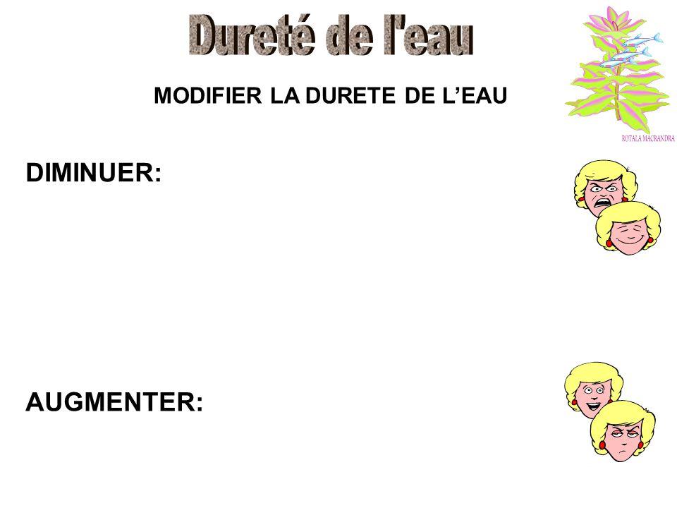 MODIFIER LA DURETE DE LEAU DIMINUER: AUGMENTER: