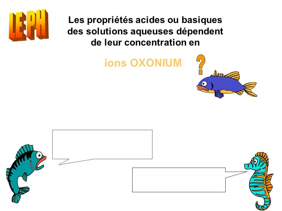 Les propriétés acides ou basiques des solutions aqueuses dépendent de leur concentration en ions OXONIUM [H 3 O + ] : concentration en mol.L -1