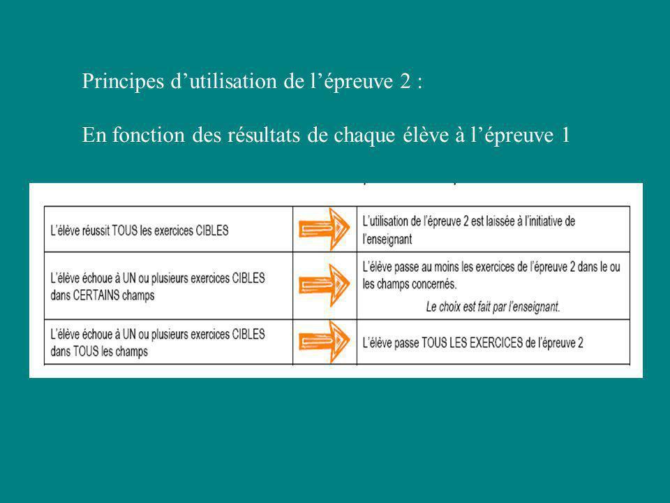 Principes dutilisation de lépreuve 2 : En fonction des résultats de chaque élève à lépreuve 1