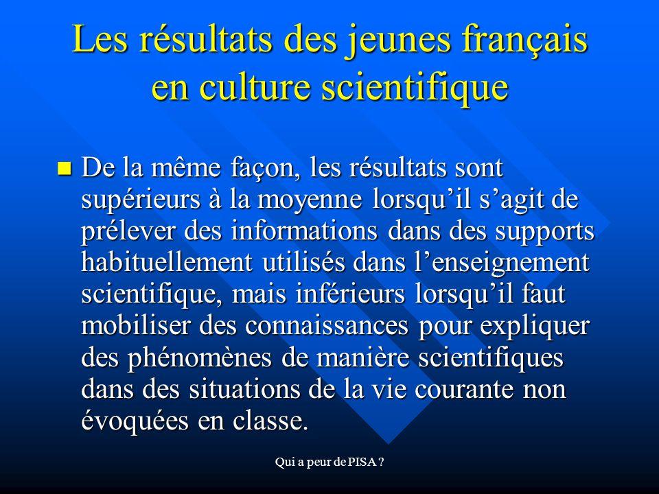 Qui a peur de PISA ? Les résultats des jeunes français en culture scientifique De la même façon, les résultats sont supérieurs à la moyenne lorsquil s