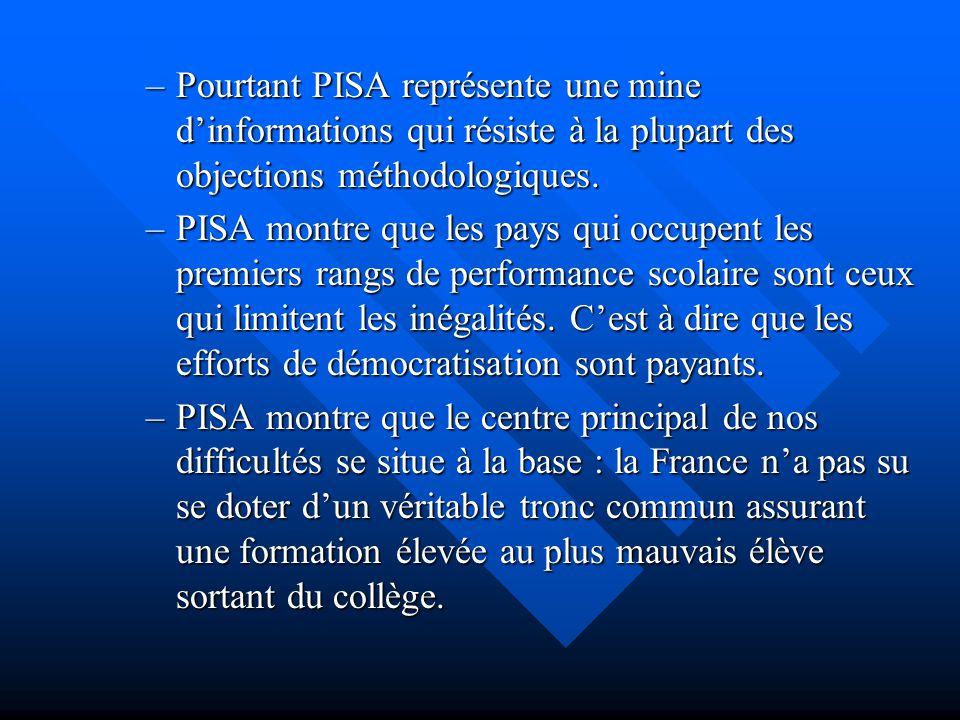 –Pourtant PISA représente une mine dinformations qui résiste à la plupart des objections méthodologiques. –PISA montre que les pays qui occupent les p