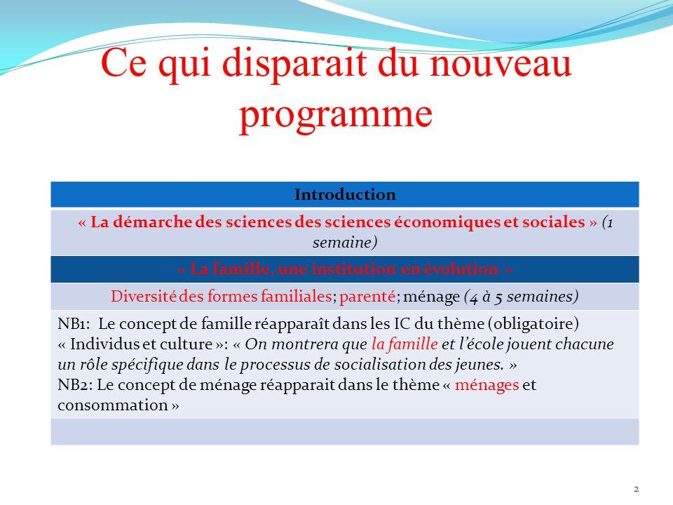 Ce qui disparait du nouveau programme Introduction « La démarche des sciences des sciences économiques et sociales » (1 semaine) « La famille, une ins