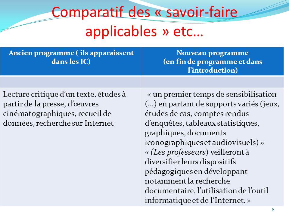 Comparatif des « savoir-faire applicables » etc… Ancien programme ( ils apparaissent dans les IC) Nouveau programme (en fin de programme et dans lintr