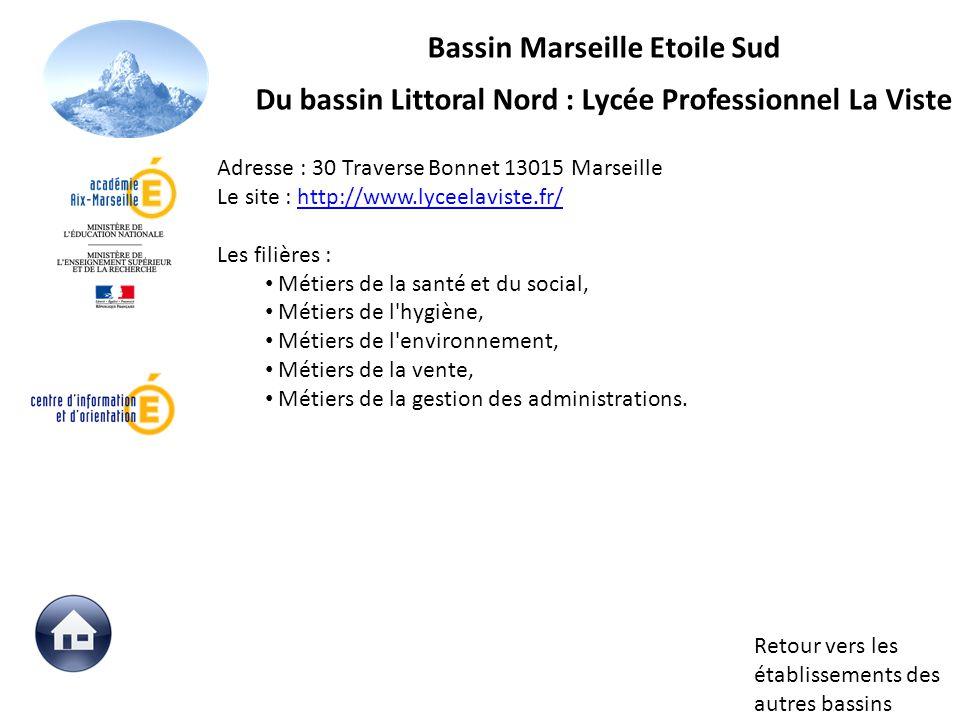 Retour vers les établissements des autres bassins Adresse : 30 Traverse Bonnet 13015 Marseille Le site : http://www.lyceelaviste.fr/http://www.lyceela
