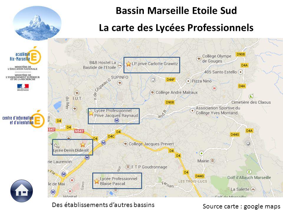 Source carte : google maps Lycée Denis Diderot Des établissements dautres bassins Bassin Marseille Etoile Sud La carte des Lycées Professionnels
