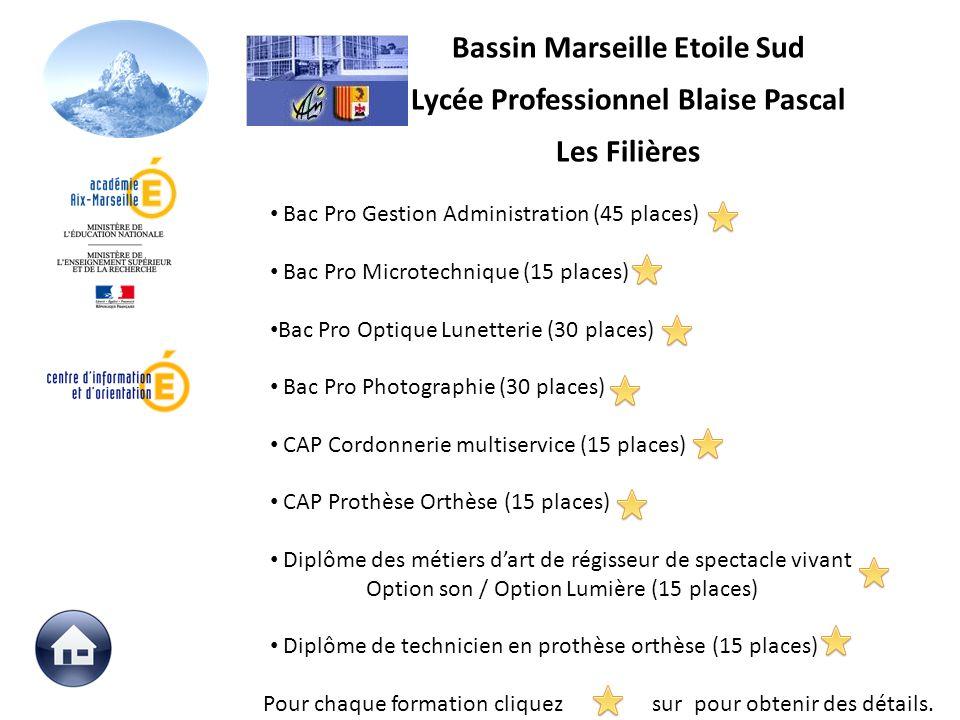 Bac Pro Gestion Administration (45 places) Bac Pro Microtechnique (15 places) Bac Pro Optique Lunetterie (30 places) Bac Pro Photographie (30 places)