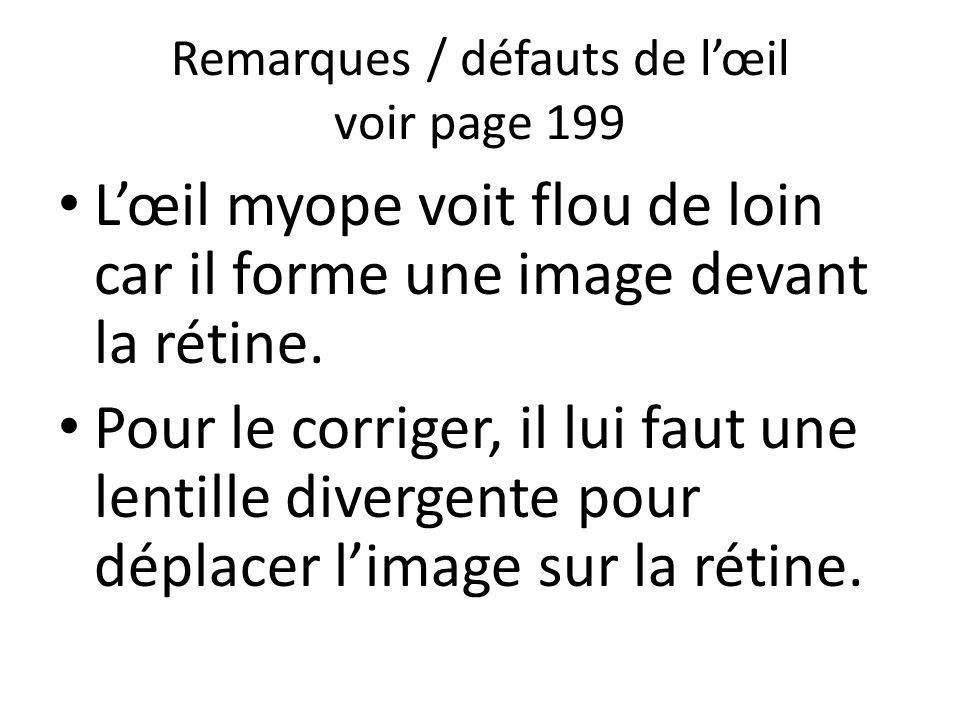 Remarques / défauts de lœil voir page 199 Lœil myope voit flou de loin car il forme une image devant la rétine. Pour le corriger, il lui faut une lent
