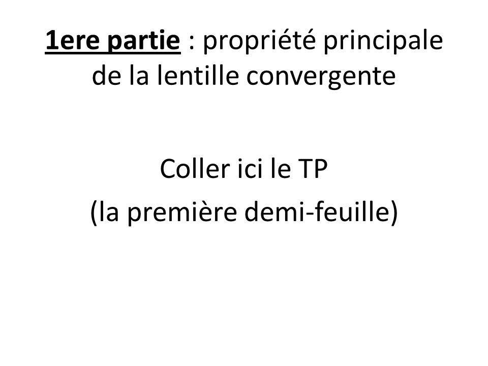 1ere partie : propriété principale de la lentille convergente Coller ici le TP (la première demi-feuille)