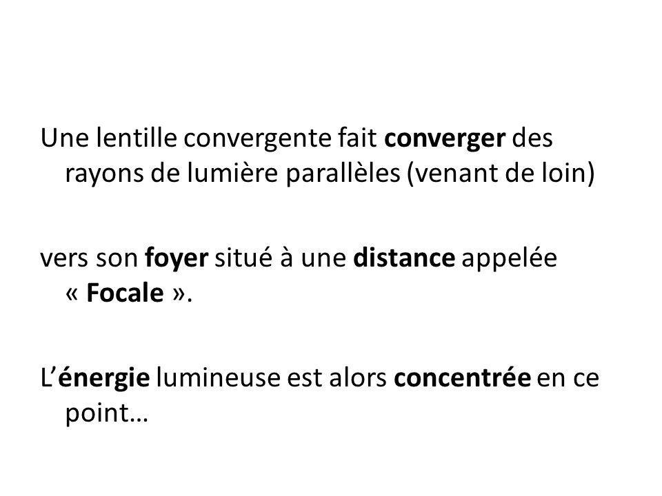 Une lentille convergente fait converger des rayons de lumière parallèles (venant de loin) vers son foyer situé à une distance appelée « Focale ». Léne