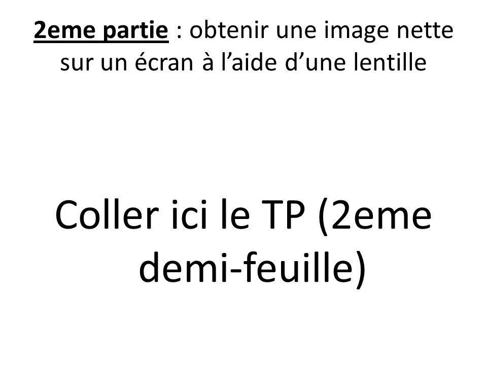 2eme partie : obtenir une image nette sur un écran à laide dune lentille Coller ici le TP (2eme demi-feuille)