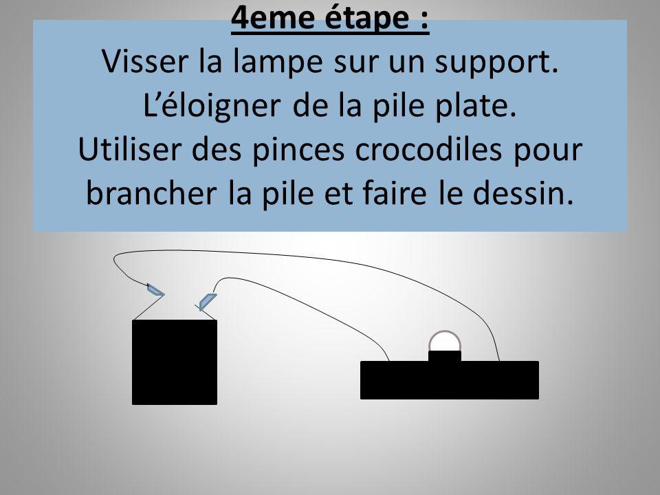 4eme étape : Visser la lampe sur un support. Léloigner de la pile plate. Utiliser des pinces crocodiles pour brancher la pile et faire le dessin.
