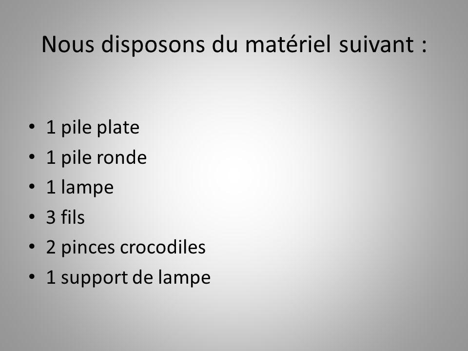 Nous disposons du matériel suivant : 1 pile plate 1 pile ronde 1 lampe 3 fils 2 pinces crocodiles 1 support de lampe