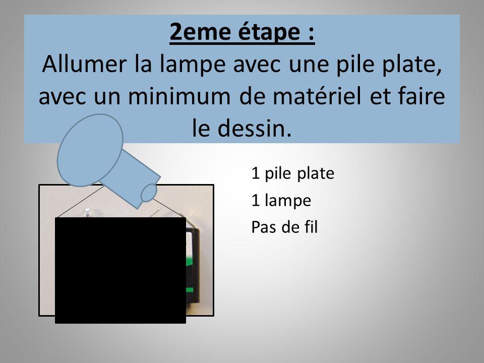2eme étape : Allumer la lampe avec une pile plate, avec un minimum de matériel et faire le dessin. 1 pile plate 1 lampe Pas de fil