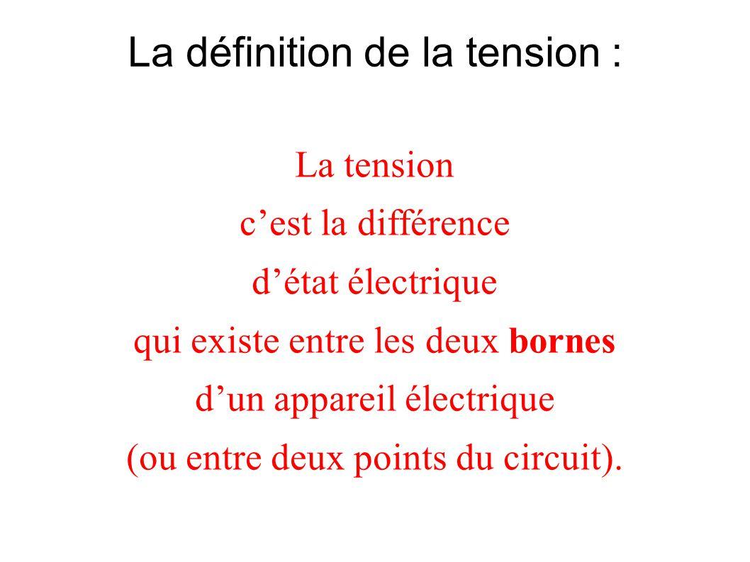 La définition de la tension : La tension cest la différence détat électrique qui existe entre les deux bornes dun appareil électrique (ou entre deux p