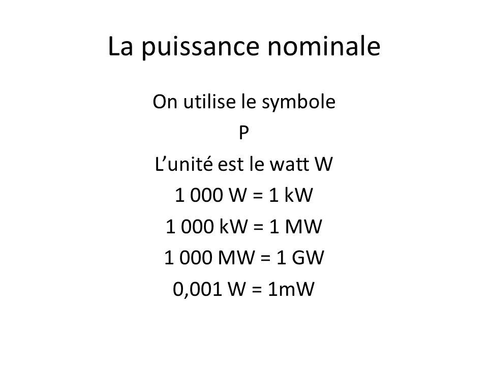 La puissance nominale On utilise le symbole P Lunité est le watt W 1 000 W = 1 kW 1 000 kW = 1 MW 1 000 MW = 1 GW 0,001 W = 1mW