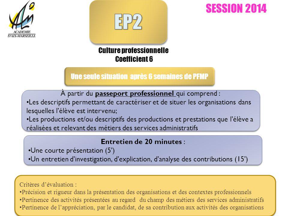 SESSION 2014 Culture professionnelle Coefficient 6 Une seule situation après 6 semaines de PFMP Critères dévaluation : Précision et rigueur dans la pr