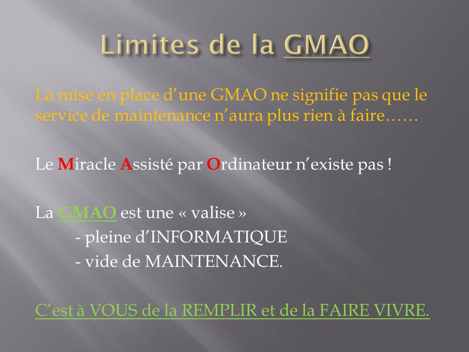 La mise en place dune GMAO ne signifie pas que le service de maintenance naura plus rien à faire…… Le M iracle A ssisté par O rdinateur nexiste pas .