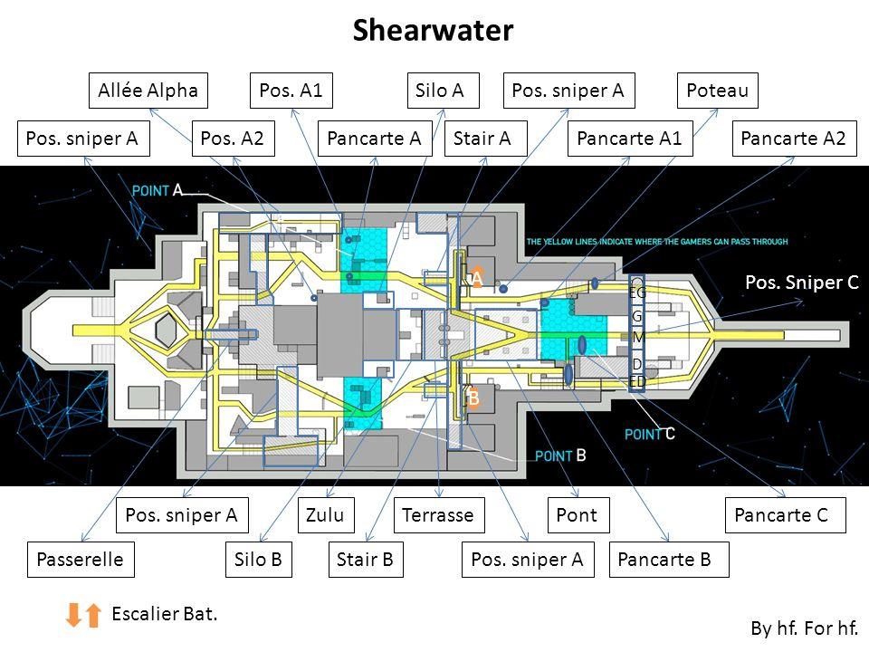 Pos. sniper A ² Shearwater Allée Alpha Pos. A2 Pos. A1Pos. sniper A Terrasse Silo B Silo A Zulu Passerelle Pont Stair B Stair A A B Pos. sniper A Panc