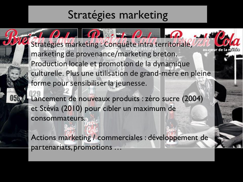 Stratégies marketing : Conquête intra territoriale, marketing de provenance/marketing breton. Production locale et promotion de la dynamique culturell