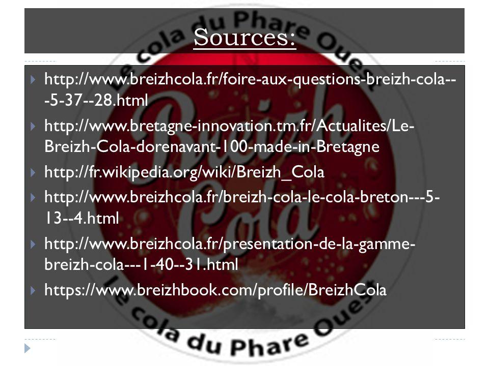 Sources: http://www.breizhcola.fr/foire-aux-questions-breizh-cola-- -5-37--28.html http://www.bretagne-innovation.tm.fr/Actualites/Le- Breizh-Cola-dorenavant-100-made-in-Bretagne http://fr.wikipedia.org/wiki/Breizh_Cola http://www.breizhcola.fr/breizh-cola-le-cola-breton---5- 13--4.html http://www.breizhcola.fr/presentation-de-la-gamme- breizh-cola---1-40--31.html https://www.breizhbook.com/profile/BreizhCola