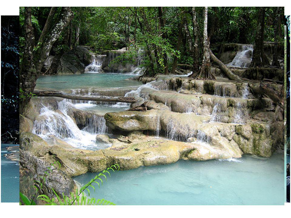 ERAWAN WATERFALLS Samedi 20, nous voila en chemin pour 65 kms De bus, direction les plus belles Cascades du Siam.