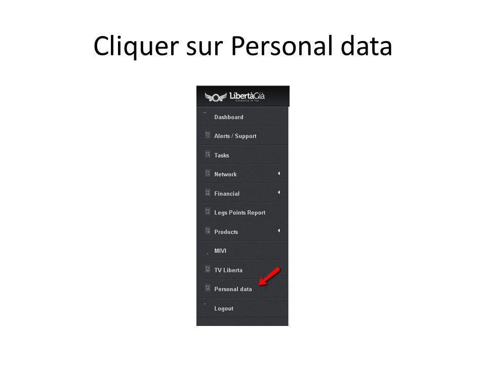 Cliquer sur Personal data