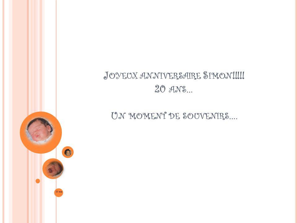 J OYEUX ANNIVERSAIRE S IMON !!!!! 20 ANS … U N MOMENT DE SOUVENIRS …. 20 ans