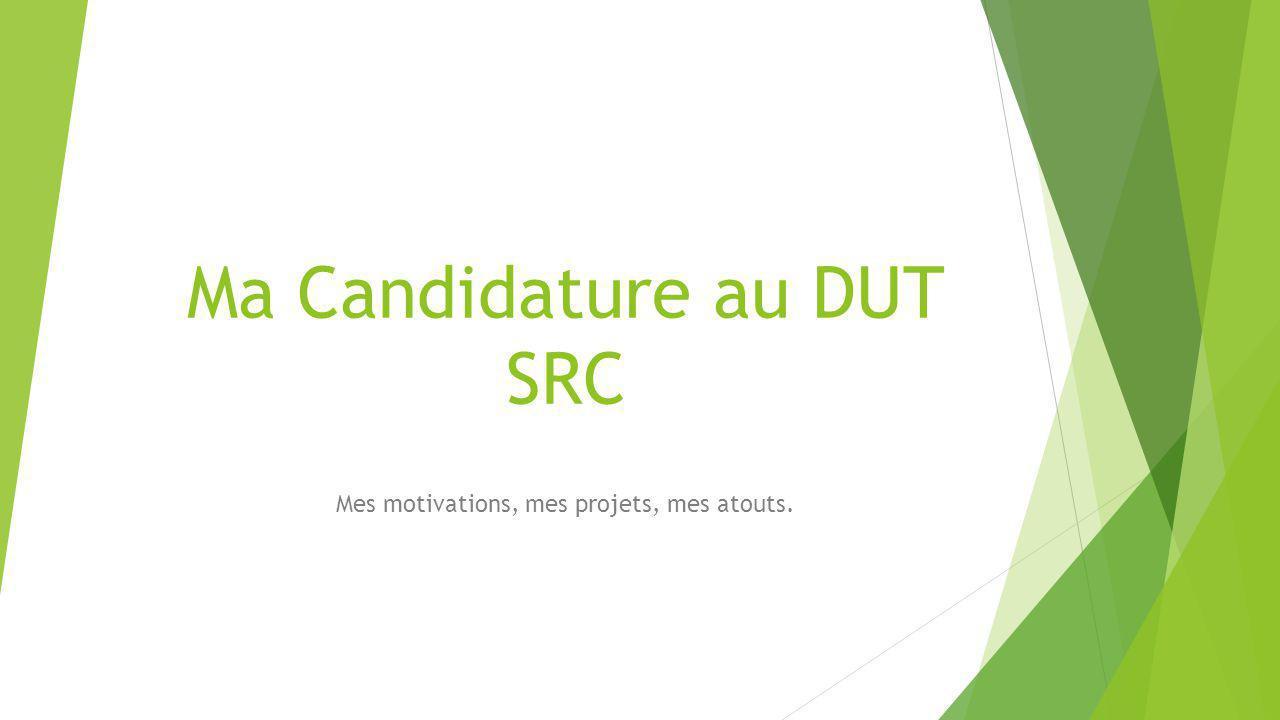 Ma Candidature au DUT SRC Mes motivations, mes projets, mes atouts.